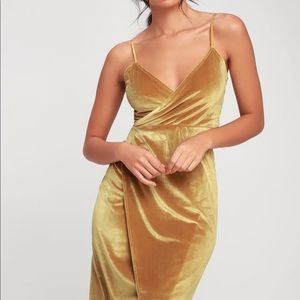 Lulus Honey Love velvet wrap dress in mustard